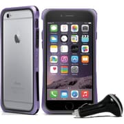 Macally Durable Protective Frame Case for iPhone 6 with Car Charger, Purple
