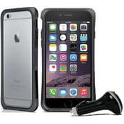 Macally Durable Protective Frame Case for iPhone 6 with Car Charger, Black