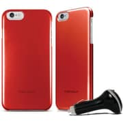 Macally Metallic Snap on Case for iPhone 6 with Car Charger, Red