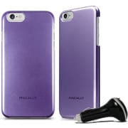Macally Metallic Snap on Case for iPhone 6 with Car Charger, Purple