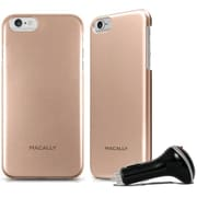 Macally Metallic Snap on Case for iPhone 6 with Car Charger, Champagne