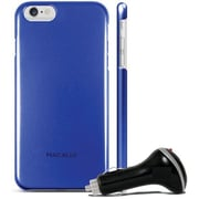 Macally Metallic Snap on Case for iPhone 6 with Car Charger, Blue