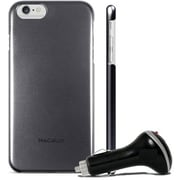 Macally Metallic Snap on Case for iPhone 6 with Car Charger, Black