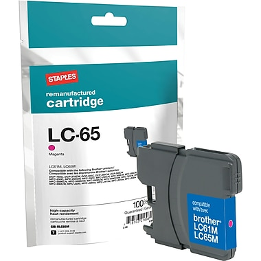 Staples Remanufactured Magenta Ink Cartridge, Brother LC65HYM (SIB-RLC65M), High Yield