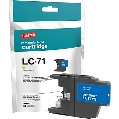 Staples Remanufactured Yellow Ink Cartridge, Brother LC71Y (SIB-RLC71Y)