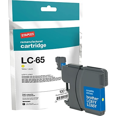 Staples Remanufactured Yellow Ink Cartridge, Brother LC65HYY (SIB-RLC65Y), High Yield