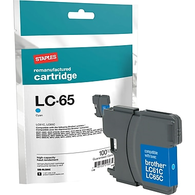 Staples Remanufactured Cyan Ink Cartridge, Brother LC65HYC (SIB-RLC65C), High Yield