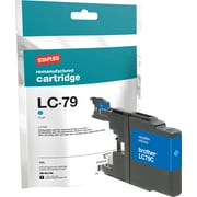 Staples Remanufactured Cyan Ink Cartridge, Brother LC79C (SIB-RLC79C), Super High Yield