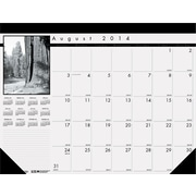 House of Doolittle Black-on-White Photo 100% Recycled Monthly Desk Pad Calendar, 2017-2018, 22 x 17 (HOD1225)