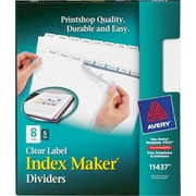 Avery® Index Maker Clear Label Tab Dividers, 8-Tab, White, 5 Sets/Pack