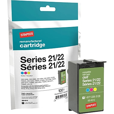 Staples Remanufactured Tricolor Ink Cartridge, Dell Series 22 (SID-R22XC), High Yield