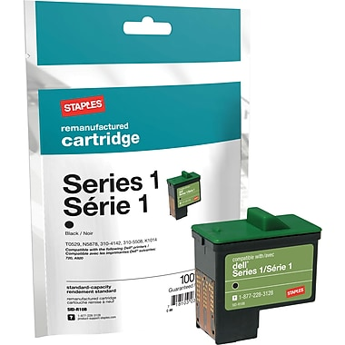 Staples Remanufactured Black Ink Cartridge, Dell Series 1 (SID-RT0529B)