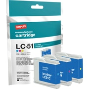 Staples Remanufactured C/M/Y Color Ink Cartridges, Brother LC51 (SIB-RLC51CMY), Combo 3/Pack
