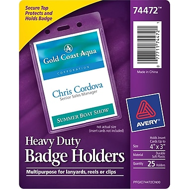 Avery® Vinyl Badge Holder, Horizontal, 3in. x 4in.