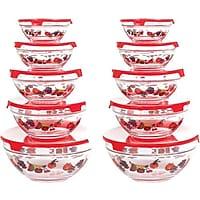 Chef Buddy 825758 20-Piece Glass Bowl & Lid Set