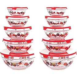 Chef Buddy 825758 20-Piece Glass Bowl & Lid Set