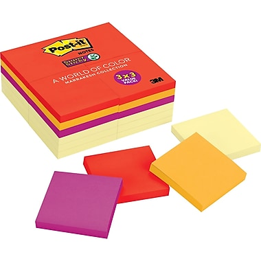 Post-it® Super Sticky 3in. x 3in. Marrakesh Notes, 24 Pads/Pack