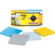 "Post-it® Super Sticky Full Adhesive 3"" x 3"" Lined Ruled New York Notes, 12 Pads/Pack"