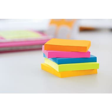 """Post-it® Super Sticky Notes, 3"""" x 3"""", Rio de Janeiro Collection, 5 Pads/Pack (654-5SSUC)"""