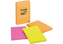 Post-it® Super Sticky 4' x 6' Line-Ruled Rio De Janiero Notes, 3 Pads/Pack