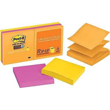 Post-it® Super Sticky 3in. x 3in. Rio De Janiero Pop-Up Notes, 6/Pack