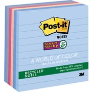 "Post-it® Super Sticky 4"" x 4"" Line-Ruled Recycled Bali Notes, 6 Pads/Pack"