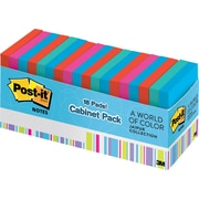"Post-it® 3"" x 3"" Jaipur Colors with Cabinet Pack, 18/pack"