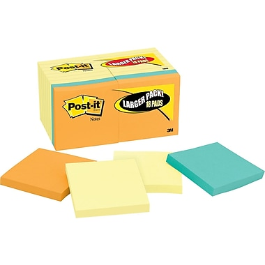 Post-it® 3in.x 3in. Notes Bonus Value Pack, Assorted, 18 Pads/Pack