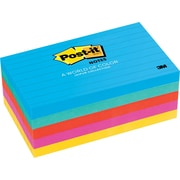 "Post-it® 3"" x 5"" Line-Ruled Jaipur Colors Notes, 5 Pads/Pack"