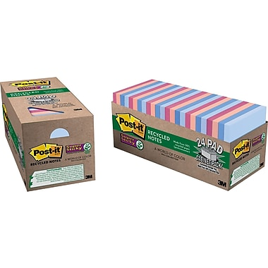 Post-it® Super Sticky 3in. x 3in. Recycled Farmers Market Notes, 24 Pads/Pack