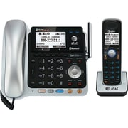 AT&T TL86109 DECT 6.0 2-Line Expandable Corded/Cordless Bluetooth Connect to Cell Phone and Answering System, Silver/Black