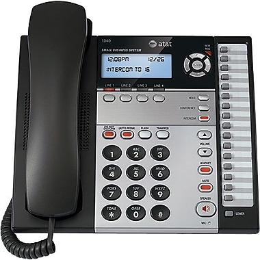 AT&T 1040 4-Line Small Business Telephone, Expandable Corded, Blue