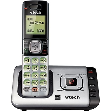 VTech CS6729 DECT 6.0 Expandable Cordless Phone with Answering System and Caller ID/Call Waiting, Silver with 1 Handset