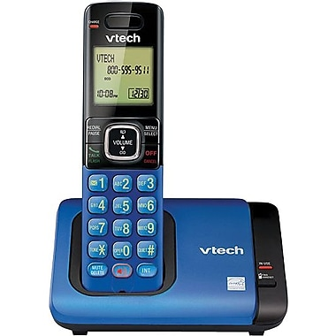 VTech CS6719-15 DECT 6.0 Expandable Cordless Phone with Caller ID/Call Waiting, Blue with 1 Handset