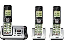 VTech CS6729-3 DECT 6.0 Expandable Cordless Phone with Answering System and Caller ID/Call Waiting, Silver with 3 Handsets