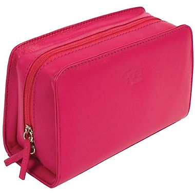 RKW Collection Genuine Leather Cosmetic Bag, Hot Pink