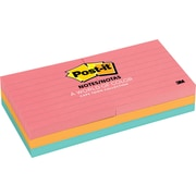 "Post-it® 3"" x 3"" Line-Ruled Cape Town Notes, 6 Pads/Pack"