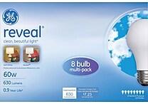 GE reveal® 60 Watt A19 Incandescent Light Bulb, 8/Pack