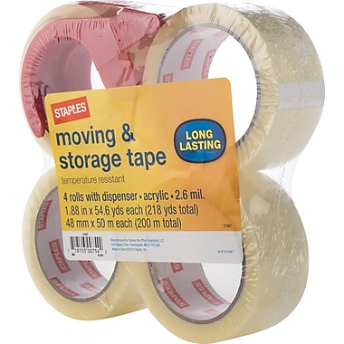 Staples Moving and Storage Packing Tape with Dispenser, 1.88