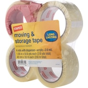 "Staples Moving and Storage Packing Tape with Dispenser, 1.88"" x 54.6yds, Clear, 4/Pack (31687)"