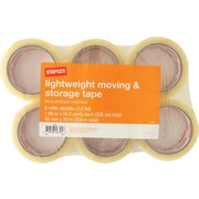 "Staples Lightweight Moving and Storage Packing Tape, 1.88"" x 54.6 yds, Clear, 6/Pack (ST-A22-6)"