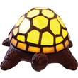 River of Goods Stained Glass Battery Operated Wireless Turtle Accent Lamp, 2.5-Inch, Yellow