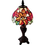 River of Goods 12.5 H Stained Glass Poinsettia Accent Table Lamp