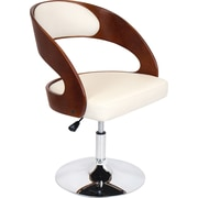 Lumisource Pino Swivel Accent Chair, Cherry Wood Finish and White Leatherette