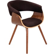 Lumisource Vintage Mod Accent Chair, Walnut Wood Finish and Black Fabric