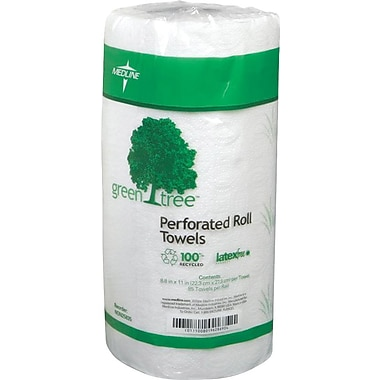 Medline® Green Tree™ Deluxe Roll Towels, White