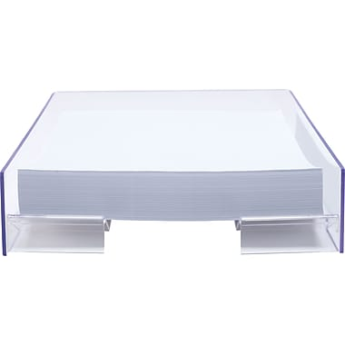 staples acrylic purple edge letter tray