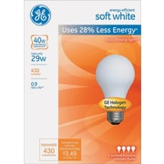 Energy-Efficient Halogen Bulb, A19, 29 W, Soft White, 4/Pk