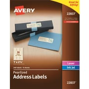 "Avery(R) Pearlized Address Labels 22837, 1"" x 2-5/8"", Pack of 240 Labels"