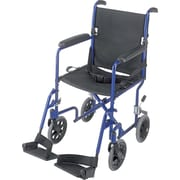 DMI® Ultra Lightweight Aluminum Transport Chair, Royal Blue, Black Seat